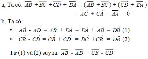 Giải Toán lớp 10 Bài 2: Tổng và hiệu của hai vectơ
