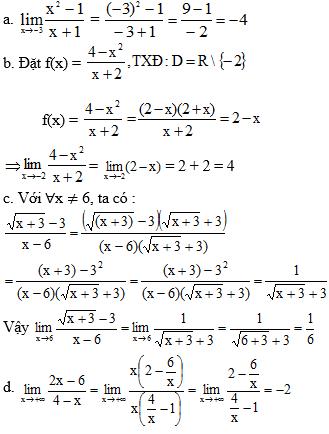 Giải Toán lớp 11 Bài 2: Giới hạn của hàm số