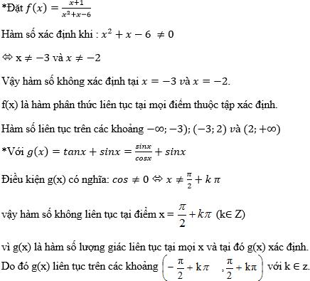 Giải Toán lớp 11 Bài 3: Hàm số liên tục