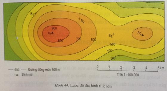 Giải bài tập Địa lý lớp 6 Bài 16: Thực hành: Đọc bản đồ (hoặc lược đồ) địa hình tỉ lệ lớn