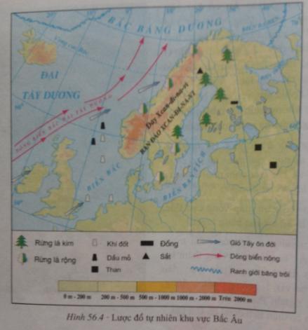 giai bai tap dia ly lop 7 bai 56 khu vuc bac au 1 - Giải bài tập Địa lí lớp 7 Bài 56: Khu vực Bắc Âu