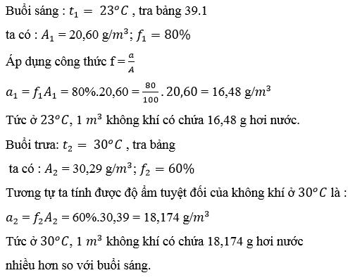 Giải Lý lớp 10 Bài 39 : Độ ẩm của không khí